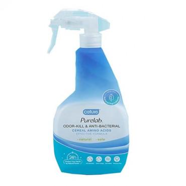 Dabīgs antibakteriāls tīrīšanas līdzeklis mājdzīvniekiem un mēteļiem telpās Cature PureLab ODOR KILL & ANTI-BACTERIAL 500 ml