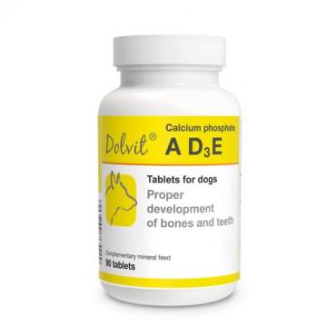 Minerālu papildbarība suņiem Dolfos Dolvit Calcium phosphate ADзE vitamīnu un minerālvielu preparāts kalcija fosfāts ADзE 90 tab