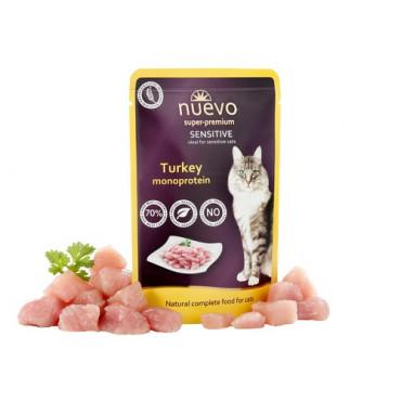 Konservi kaķiem nuevo Sensitive Turkey - monoproteīni ar tītaru 85 g