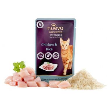 Konservi sterilizētiem kaķiem nuevo Sterilised Chicken & Rice ar vistu un rīsiem 85 g