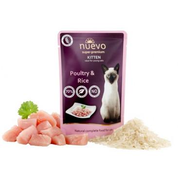 Konservi kaķēniem nuevo Kitten Poultry with Rice ar mājputniem un rīsiem 85 g