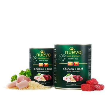Konservi kucēniem Nuevo Super Premium Junior Chicken Beef ar vistu, liellopa gaļu un rīsiem 400 g